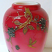 SALE Late 1800s Harrach Cased Peach Blow Vase, Signed