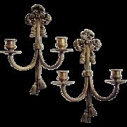 Vintage Brass Sconces, Bow & Tassel