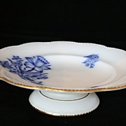 White Davenport Footed Plate wth Blue Floral Transferware, Footed Bowl, Staffordshire