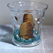 English Glass Hand Painted Honey Pot, Bee Skep, Flowers