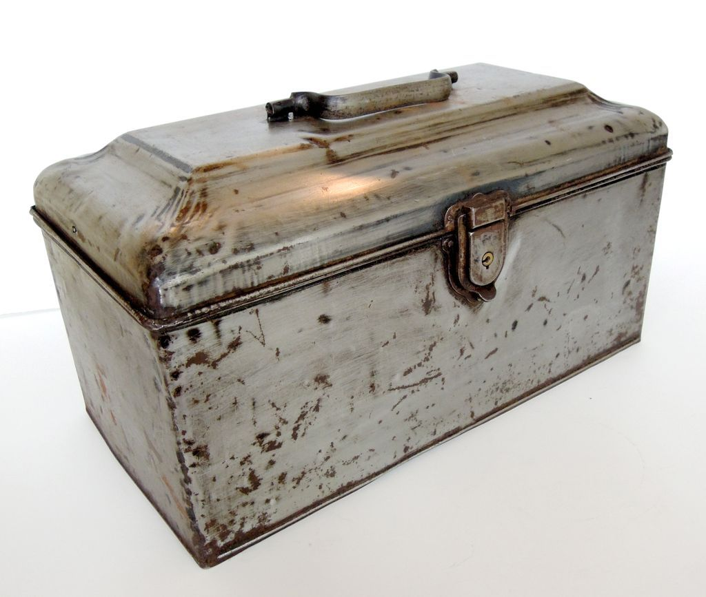 Antique Industrial Metal Bank Box