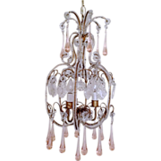 Italian Crystal Beaded Chandelier with Pink Drops, Gilt Frame, Ca. 1930