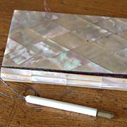 "19th Century Mother of Pearl French ""Berck Su Mere"" Souvenir Calling Card Case"