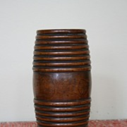 19th Century English Walnut Gunpowder Barrel