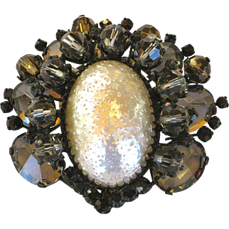 Vintage Austria Black and White Large Rhinestone Brooch