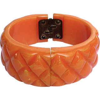 SALE Vintage Orange Marbled Quilted Bakelite Clamper Bracelet