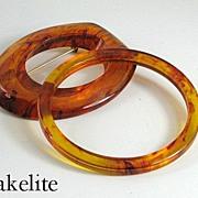Vintage Bakelite Root Beer Bangle Bracelet and Brooch