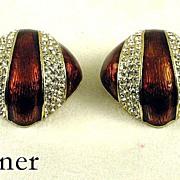 Vintage Ciner Enamel Rhinestone Earrings