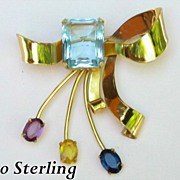 Gorgeous CORO Sterling Bow Pin / Brooch