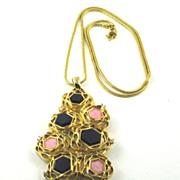 Vintage D'Orlan Modernist Mid Century Pendant Necklace