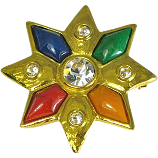 Vintage YSL Yves St. Laurent Multicolored Star Brooch