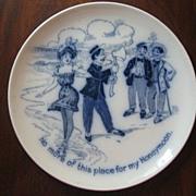 Flow Blue Comical Honeymoon Plate, c. 1900
