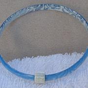 Baby Blue & White Slim Bangle Bracelet, by Lea Stein, Paris
