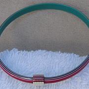 Red, Teal & White, Striped Slim Bangle Bracelet, by Lea Stein, Paris