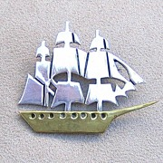 Vintage Mexican Sterling Silver Clipper Ship Pin TS- 79 Two Trees