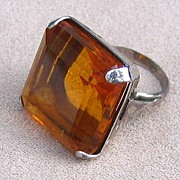 DRAMATIC Sterling and Faux Citrine Ring, c.1940