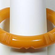 Carved Butterscotch Bakelite Bangle Bracelet
