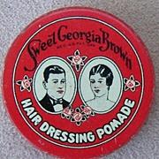 Sweet Georgia Brown Hair Dressing Pomade tin, c.1920