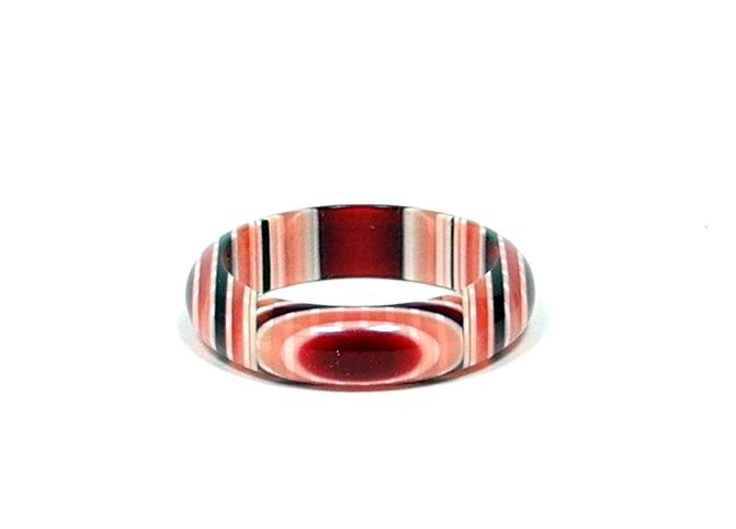 Red, Pink and White Band Ring, by Lea Stein, Paris