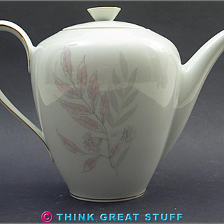 KPM #700, Gray & Pink Leaves Coffee or Tea Pot