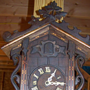 Antique Black Forest Cuckoo Clock C 1900 with Inlay and Daisies