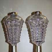 Excellent Pair Sandwich Glass Whale Oil Lamp Lamps C 1860