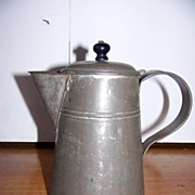 19th Century Primitive Tin Tole-ware Tea Pot with Original Lid