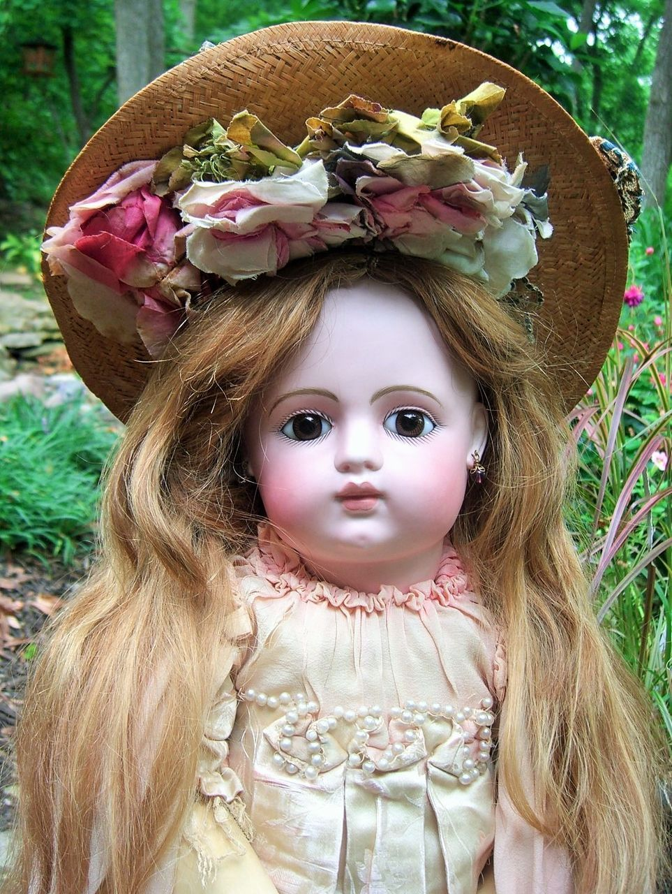 """LAYAWAY 28"""" FG Block Closed Mouth French Antique Doll w/RARE Gesland Label COUTURE Dress"""
