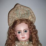 "22"" CM Tete Jumeau Antique Doll w.original earrings/wig - courtier Silk Dress! ! Layaway!"