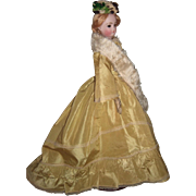 "18"" Antique French Fashion Doll with Stunning Antique Gown - Barrois - RARE brown eyes - layaway"