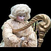 """23""""RARE Automaton -Harpist w/Portrait Face - Roullet De Camps - Layaway!"""