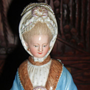 """8"""" Meissen Figurine of Lady with Racing Card & Muff - Layaway!"""