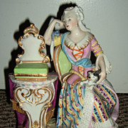 Antique Figurine Woman & Dog - Late 1800's!