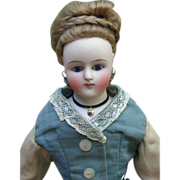 """13"""" ALL ORIGINAL German Antique French Fashion Doll - Decorative Parian Shoulderplate Layaway"""