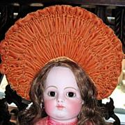 Stunning Burnt Orange Velvet Doll Hat Bonnet