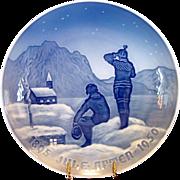 "1950 Bing & Grondahl Christmas Jubilee Plate ~ ""Eskimos "" by Achtin Friis"