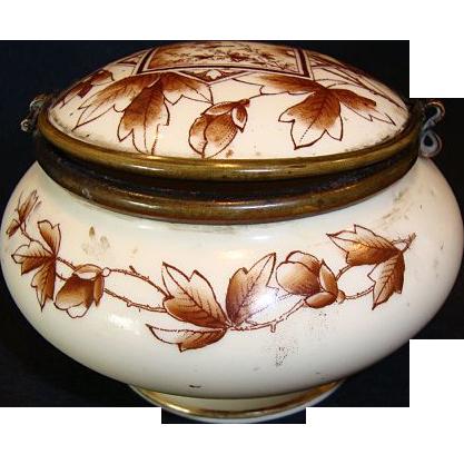 Wonderful Old Porcelain Hinged Dresser Box ~ Brown Transfer Panel with Birds & Leaves