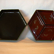 Green & Brown Japanese Lacquered Paper Mache Bento Box ~ Three Compartments ~ NK Tikoya Japan Prior to 1921.