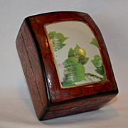 Chinese Red & Black Lacquered Domed  Box with Porcelain Insert