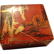 Nice old Makie Lacquer Box ~Birds on Rice branches ~ 1891+