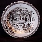 SALE Remarkable Earthenware Bowl ~ Brown Transferware ~ Shakespeare & Hathaway ~ Wallis Gimson