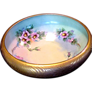 Astonishing 10 1/2'' Porcelain Bowl ~ Rivir Studio ~ Gold Encrusted outside and Hand Painted Roses inside~ Bavaria 1922-1930