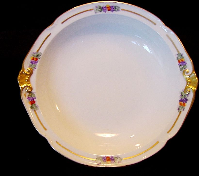 Beautiful Limoges Porcelain Serving Bowl ~ Hand Painted with Fruit Motif ~ Delinieres & Co 1894-1900