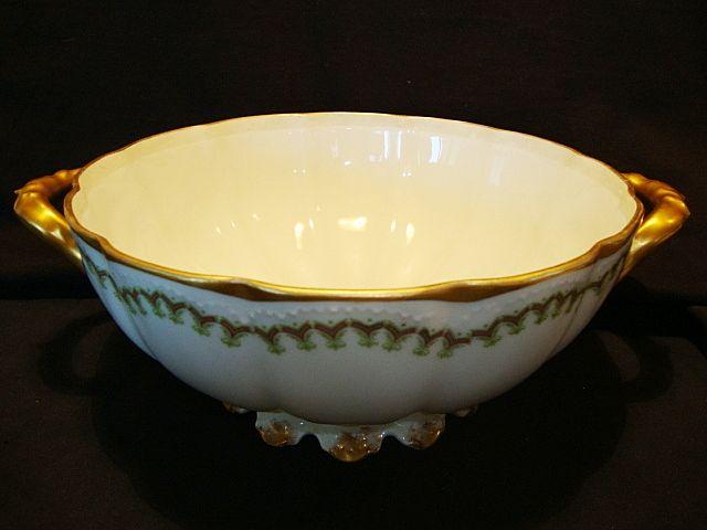 Beautiful Limoges Porcelain Master Serving Bowl ~ Factory Decorated ~ Haviland France 1889 – 1931