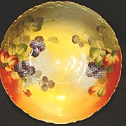 SALE Beautiful Porcelain Bowl ~ Hand Painted with Blackberries by France Studios Chicago IL~ 1