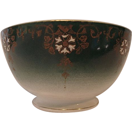 Beautiful French Faience Bowl ~ Teal with White Enamel Flowers ~ Keller Guerin Luneville France 1890-1920