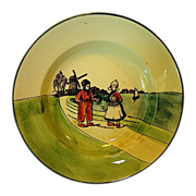 Nice Old German Bowl With Dutch Scene Boy and Girl with Sailboat ~ ZELL United Ceramic Factories - Georg Schmider (Germany) - ca 1907 – 1928