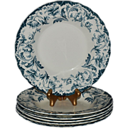 "SALE 6 Beautiful Semi Porcelain 9"" Bowls ~ Blue Green Poppies ~ Ophir pattern ~ William Hulm"