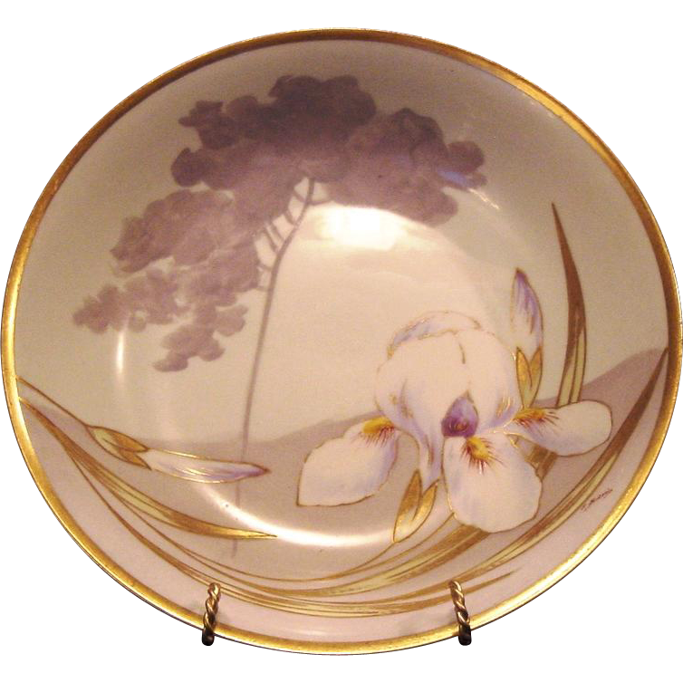 Gorgeous Limoges Porcelain Bowl ~ Hand Painted with Yellow Bearded White Iris ~ PM Mavaleix / Coronet 1908-1914