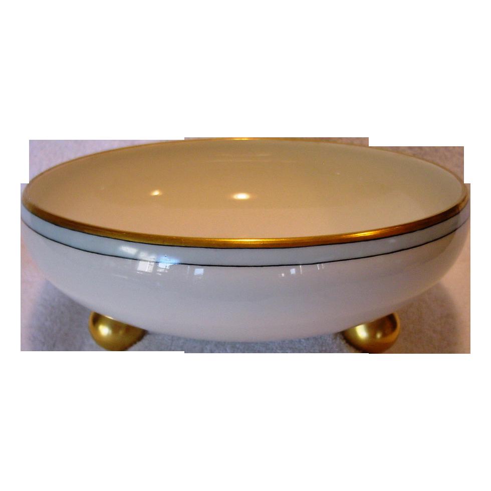 GIANT 8 1/2''  Bonbon Dish ~ Footed Bowl ~ Limoges Porcelain ~ Hand Painted ~ T&V Tressemann Vogt 1892-1907